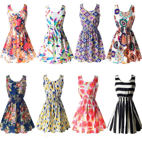 All'ingrosso-Nuovo Estate Hot Sexy Womens Tank Chiffon Beach Dress senza maniche Sundress floreale Mini abiti M-XXL 2015 21 colori