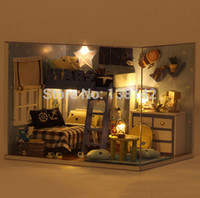 Wholesale Free House Furniture - Wholesale-H005 2015 New 1:12 Doll House Miniatura wooden dollhouse miniature bedroom include furniture,Light,dust cover free shipping