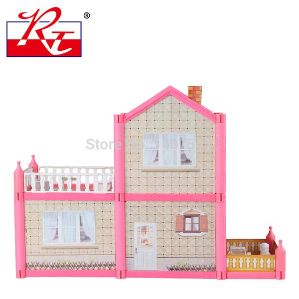 Großhandels-Neues Rosa DIY Kunststoff Miniatura Puppenhaus Möbel Handgemachte 3D-Miniatur-Puppenhaus Spielzeug Gits für Mädchen