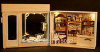 Wholesale Diy House Model - Wholesale-DIY clay craft doll house 3D puzzle dollhouse model toys,Assembled Model Building Savile Row tailors Creative Birthday gift DH54