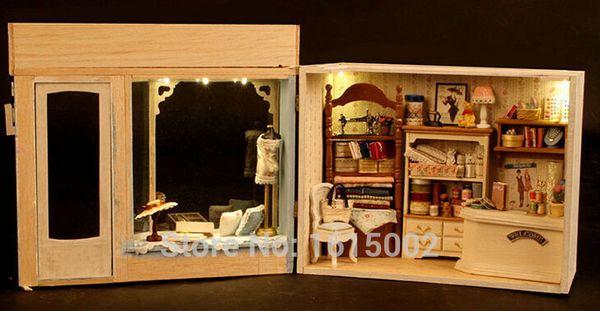 Juguetes de casa de muñecas de juguete de casa de muñecas en 3D al por mayor y con bricolaje, modelo ensamblado Savile Row confecciona un regalo de cumpleaños creativo DH54