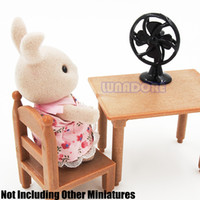 Wholesale Metal Accessories For Furniture - Wholesale-1:12 Old Fashioned Black Lobby Fan Cool Furniture Miniature Doll House Accessory For Re-ment Orcara