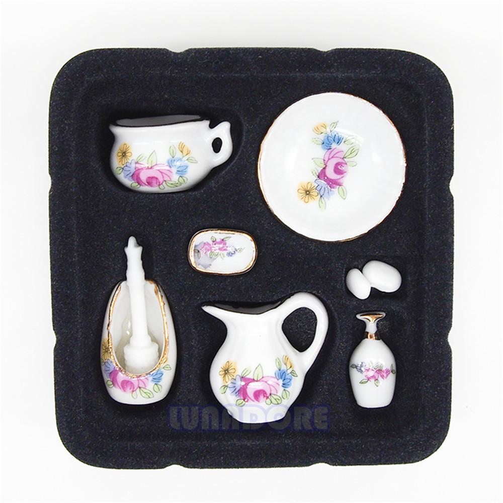 Für 1:12 Puppenstuben. Puppenstuben & -häuser Miniatur Bad Accessoires aus Porzellan mit Rosenmuster