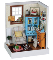 Wholesale Dollhouse Living Room - Wholesale-F001 Dawn Whispers ( including dust cover ) diy dollhouse LED lights Miniature Living room wooden doll house free shipping