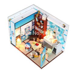 diy wood toys Promo Codes - Wholesale-Free Shipping DIY Model Assemble Villa Doll Home  children toy Doraemon Nobita's room  Wooden Miniature Dollhouse