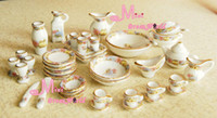 Wholesale Vintage Dinner Sets - Wholesale-Dollhouse Miniature Vintage Porcelain Tea Dinner Set 40PCS