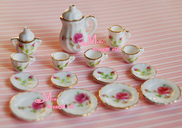 Wholesale Dollhouse Roses - Wholesale-Free Shipping~ Lot of 15PCS England Rose Porcelain Dollhouse Miniature Coffee Tea Cup Set
