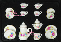 Gros-LOT DE 15PCS Vintage Dollhouse Miniature porcelaine Chine Thé Couvercle Pot Cups