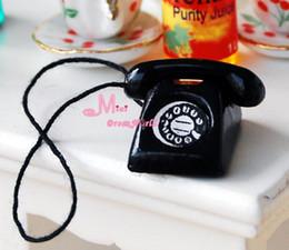 Wholesale Vintage Ship Telephone - Wholesale-Free Shipping~ 1 12 Dollhouse Miniature Vintage Black Telephone Phone