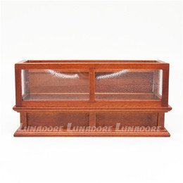 Wholesale Furniture Displays - Wholesale-Wooden Doll Furniture 1:12 Miniature Brown Display Bakery Shop Cabinet Counter Showcase