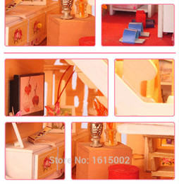 Wholesale Dollhouses China - Wholesale-China Factory Kawaii Baby DIY Miniature Dollhouses 3D Wooden Puzzle Doll House Furniture Accessories For Sale DH66