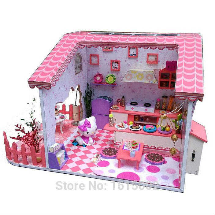 Doll Furniture For Sale Part - 21: Wholesale-Big Sale DIY Wooden Dollhouse Hello Kitty Doll House Baby Girl  Kids Hot Toys With Miniature Kitchen Furniture Free Shipping DH35
