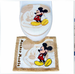 Wholesale Toilet Seats Covers Soft - Wholesale-3 Piece Set Household Soft Mickey Mouse Toilet Lid Pads Washable High-quality Animal Toilet Seat Cover U-shaped Toilet Mat