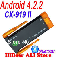 Wholesale Rk3188 Bluetooth 919 - Wholesale-CX-919 II Quad core Rk3188 CX 919II twin Dual wifi antenna android 4.2.2 bluetooth tv dongle built in google android tv stick