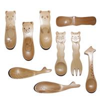 Wholesale Zakka Spoon - Wholesale-Cartoon Animals Small Wooden Spoon for Baby Zakka Children's Wood Spoons Creative Tableware Kids Christmas Gifts 20pcs lot