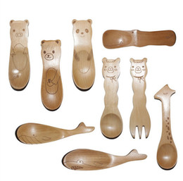 Wholesale Wholesale Wooden Spoon Small - Wholesale-Cartoon Animals Small Wooden Spoon for Baby Zakka Children's Wood Spoons Creative Tableware Kids Christmas Gifts 20pcs lot