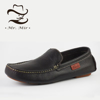 Wholesale Leather Mr B - Wholesale-Mr Mir Handmade Genuine Leather Men Moccasins, Casual Driving Flats, Business Leather Loafers, Original Brands Men Shoes