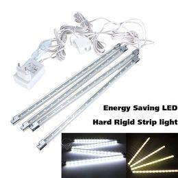Wholesale Under Counter Led - Wholesale-4pcs LED Kitchen Lighting Under Cabinet Counter Energy Saving Hard Rigid Strip Bar Light Kit White Warm White 110V-240V