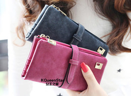 Wholesale Ladies Wallets Wholesale - Wholesale-2015 Women Wallets New Winter Fashion Trends Pumping Multi-card Position Two Fold Wallet lady Long Purse Card BQQ155