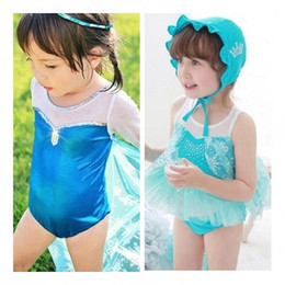 Wholesale Girls One Set Retail - Wholesale-free shipping Retail New Summer Hot 2-9Y girls swimsuit elsa fashion one-piece swimwear with lace cloak kids swimwear 2pcs set