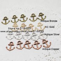 liga de metal misto encantos venda por atacado-Atacado-Mixed náutica jóias âncora encantos de quatro cores de Metal liga de zinco moda âncora pingente encantos 80pcs15 * 19mm 7271