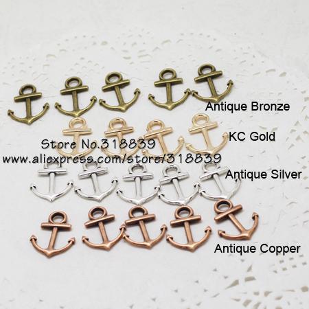 Encantos del ancla de la joyería náutica mezclada al por mayor de cuatro colores aleación de zinc de metal Ancla de moda encantos pendientes 80pcs15 * 19 mm 7271