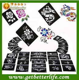 Wholesale Template Tattoo Free - Wholesale-Free Shipping Painting Stencils Painted Template Glitter Tattoo 1000 pieces temporary tattoo Fashion designs patterns stickers