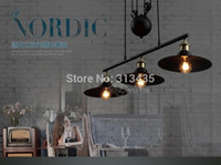 Gros-Rh2 Loft Vintage Industrial Retro fer Poulie Chandelier Pendant Lamp Bar Cuisine Décoration E27 Edison Fixtures Bulb Light