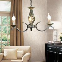 Wholesale Candelabra Bulbs Free Shipping - Wholesale-Free Shipping Iron Chandelier Black Candelabra Antique Art Deco Sconce Pendant Lamp Price 3*E14 LED Bulb 1 years warranty