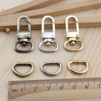 Wholesale Metal D Rings Wholesale - Wholesale-Bronze Bag Parts & Accessories Luggage bag buckle Snap hook Dog,Bag hanger Lobster Clasp D ring 12 mm diameter 10set lot
