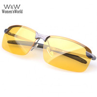 очки для ночного вождения  оптовых-Wholesale-Sport Glasses Men Polarized Driving Sunglasses Yellow Lense Night Vision Driving Glasses Polaroid Goggles Reduce Glare SV1419865