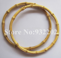Wholesale Replacement Bag Strap - Wholesale-10Pcs lot Bamboo Purse Bag Handle HandBag Replacement Strap Round 15CM