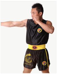 Wholesale Embroidered Training Pants - Wholesale-Muay Thai Pants boxing shorts Embroidered Satin Boxing Pants trousers shorts Sanda fight Training suit boxing sanda clothes