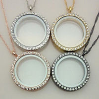 Wholesale Living Memory Locket Necklace - Wholesale-10pcs lot free chain 30mm mix color memory living magnet glass floating locket