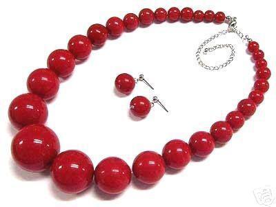 belle 6-14mm tribal Chunky rouge corail Collier de perles + de chaînes Une paire de tower 18inch bijoux