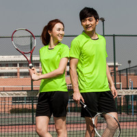 Wholesale Wholesale Sports Team Jerseys - Wholesale-Top Quality Men and Women Couple Badminton Jerseys Team Shirts Quick Dry Sports Wear Y1225W-Y1226M