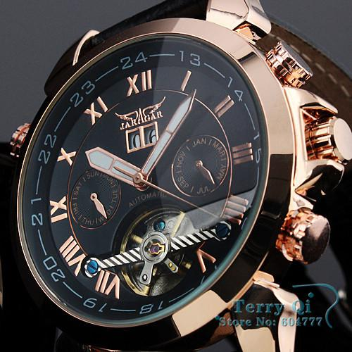 Wholesale-JARAGAR Fashion Brand Wristwatches Man Auto Mechanical Date  Mens Wrist Watch +Gift Gox Free Ship