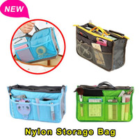 Wholesale Nylon Cosmetic Book Bag - Wholesale-2015 Newest Large Dual Organizer Mp3 Phone Cosmetic Book Storage Nylon Travel Bag Handbag Purse Women Make Up Bag