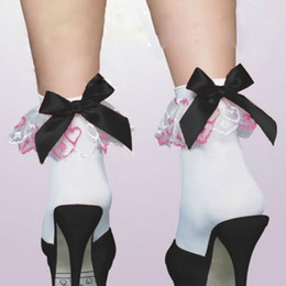 Wholesale Lace Trim Ankle Socks - Wholesale-Hot Sale Lady Sexy Lace Elastic Opaque Frilly Ruffled Trim Short Ankle Bow Socks Beautiful Calcetines Nurse Maid Women Socks