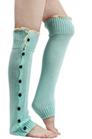 Wholesale Wholesale Lace Trim Boot Sock - Wholesale-Lace Trim Flat Cuffs Button Down Knit Warmers Knee High Boot Socks Winter Boot Warm Socks Knit Leg Warmer for Christmas DP851958