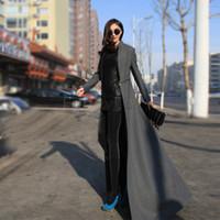 Wholesale Xxl Women Wool Coats - Wholesale-Hot Selling !2015 Winter Wool Coat Women Cool Style Full Length Long Wool Blend Trench Coat M-XXL 30