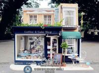 ingrosso caffè in miniatura-Wholesale-Hallstatt Coffee House in stile europeo Grande casa delle bambole fai-da-te 3D in miniatura a luce LED + kit di argilla fatta a mano in legno Modello di edificio Deco