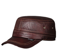 Wholesale Ww2 Hats - Wholesale-Black Brown military hats leather military cap ww2 germany winter military hats for men genuine cowhide leather free shipping
