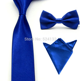 Satin Bowtie En Gros Pas Cher-Gros-0217 Men Satin Couleur Bowtie Bow Tie Cravate Mouchoir de poche Ensemble carré