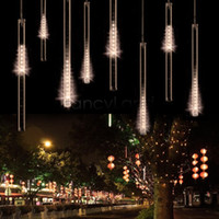 Wholesale Tube Fall Double - Wholesale-2015 New 8pc set 50cm Double-side LED Christmas decoration Xmas String Light Snow fall tube led raining meteor tube lights B26