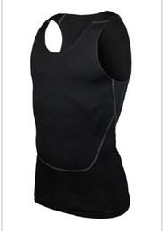 Wholesale Tight Fashion Vests - Wholesale-Free shipping 2015 New Fashion Men Sports Vest Fitness Runnig Tights Lovers' Sports wear Breathable Tops Exercise wear