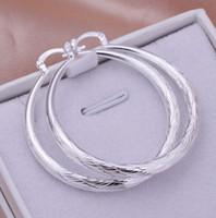 Wholesale Large Loop Earrings - Wholesale-New Fashion Women Jewelry Stylist 925 Sterling Silver Round Big Large Hoop Huggie Loop Earrings