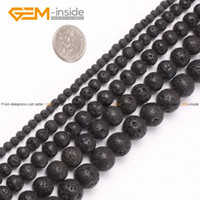 Wholesale Black Stone Beads Round - Wholesale-Lava Rock Beads Fashion Round Black Selectable Size 4-20mm,Natural Stone Beads For Jewelry Making Diy Bracelet Free Shipping