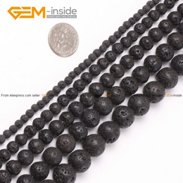 Wholesale Bead Cap Jewelry - Wholesale-Lava Rock Beads Fashion Round Black Selectable Size 4-20mm,Natural Stone Beads For Jewelry Making Diy Bracelet Free Shipping