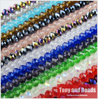 Wholesale Rondelle Beads Wholesale 4mm Faceted - Wholesale-150Pcs Lot 4mm Mixed Faceted Glass Crystal Rondelle Spacer Beads For Jewelry Making 17Colors In Total Free Shipping No.CB1
